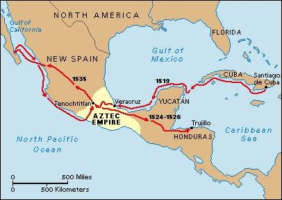 Hernan cortes map of exploration from sites 1