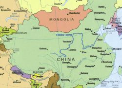 Huang he river map from china tour 3