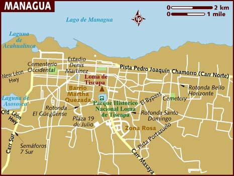 Managua map from lonelyplanet 1
