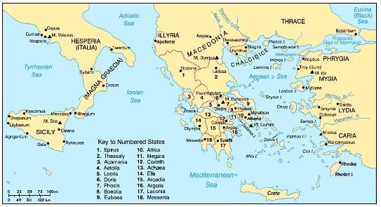 Map of ancient greece city states from pinterest 1