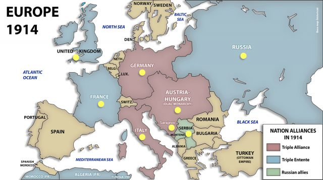Map of europe ww1 from maps 1