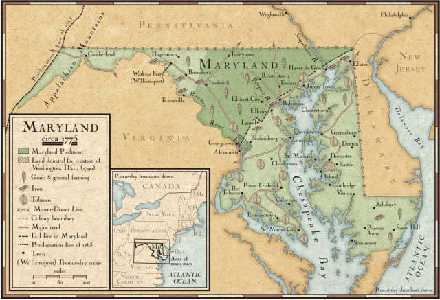 Maryland colony map from nationalgeographic 1