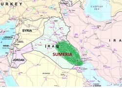 Sumerian civilization map from study 6