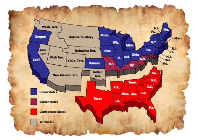 Civil war map union and confederate states from pinterest 1