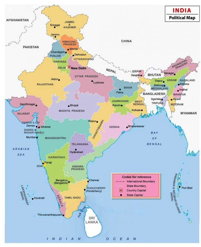 India states and capitals map from in 1