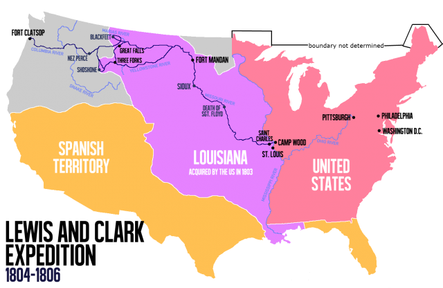 Lewis and clark map from en 1