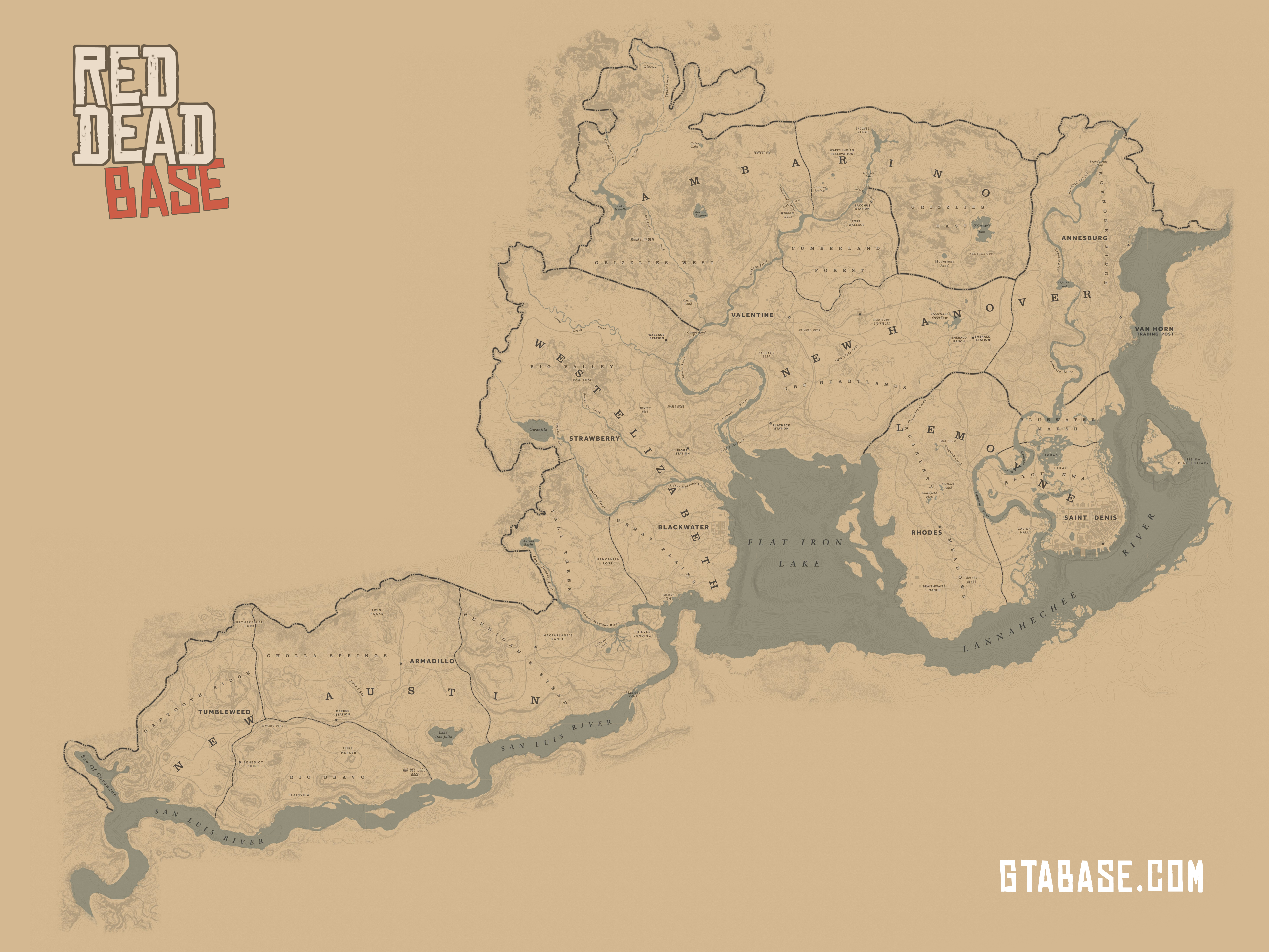 Red Dead Redemption 2 Map From Gtabase 1