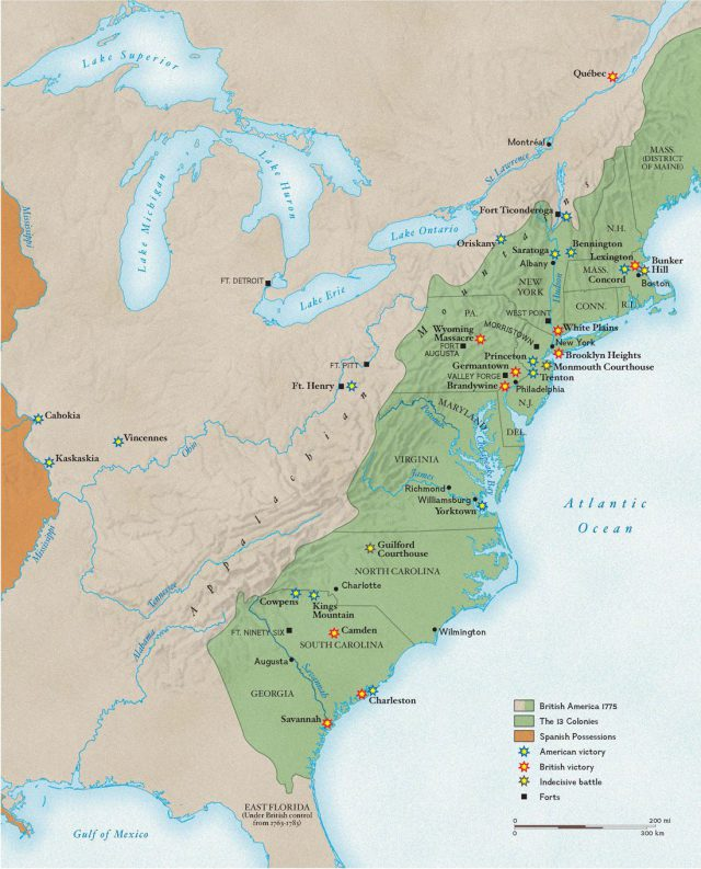 Revolutionary war battles map from nationalgeographic 1