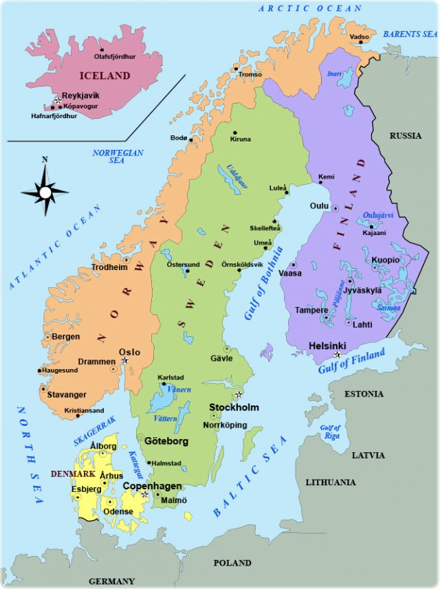 Scandinavia map from geographicguide 1