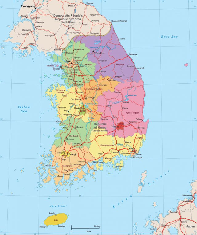Seoul south korea map from geographicguide 1