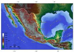 Topographic map of mexico from mapsland 2