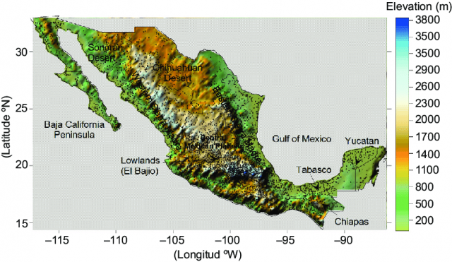 Topographic map of mexico from researchgate 1