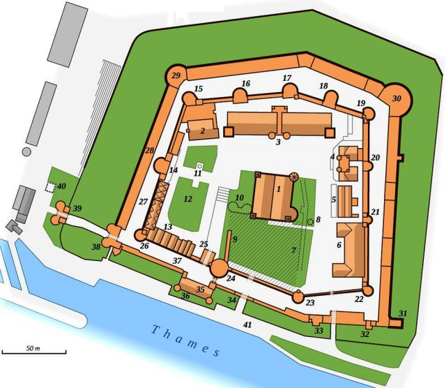 Tower of london map from wonders of the world 1