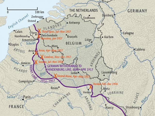 Western front ww1 map from nzhistory 1