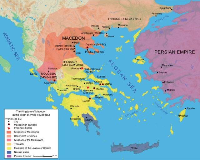 Ancient macedonia map from en 1