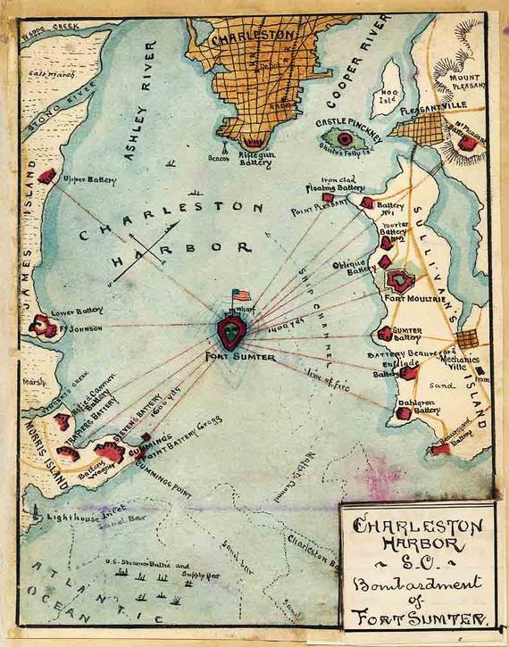 Battle of fort sumter map from etsy 2