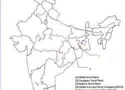 Bhilai iron and steel plant on map from brainly 6