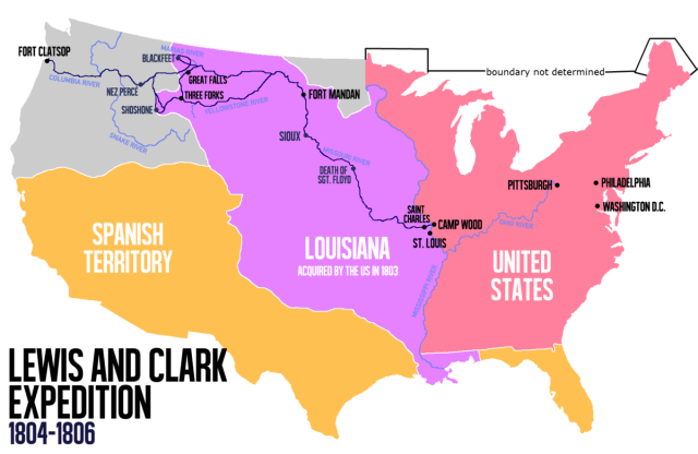 Lewis and clark expedition map from en 1