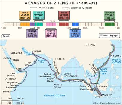 Zheng he map route from britannica 1
